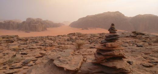 Stones pile in Wadi Rum